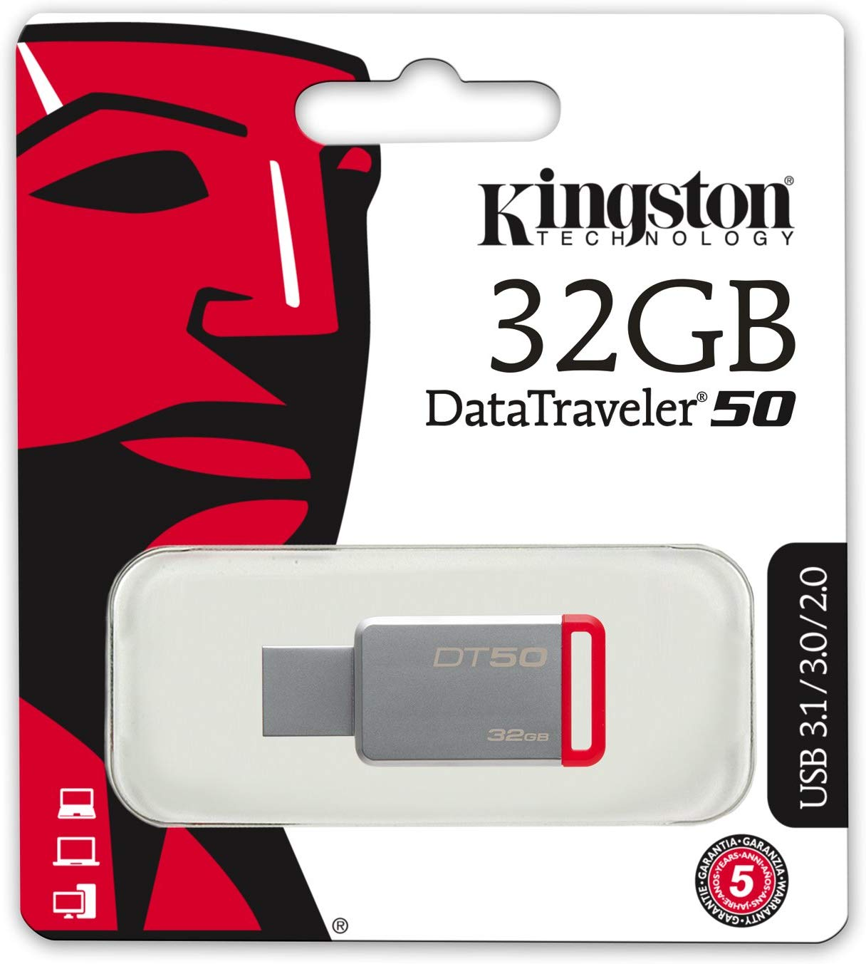 Memoria USB Kingston 32GB 3.1 DT50 Rojo